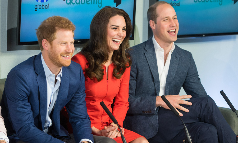 <p>Three heads (and smiles!) are better than one! Harry, William and the Duchess of Cambridge sported matching grins on April 20, 2017 as they helped open the Global Academy in support of the royals' mental health charity Heads Together in Hayes, England. <br /><br />Photo: Dominic Lipinski - WPA Pool /Getty Images</p>