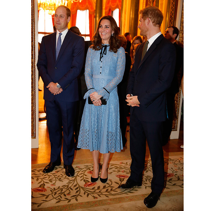 <p>In October 2017, Prince William and Prince Harry supported Kate as she made her first public appearance since announcing her third pregnancy to mark World Mental Health Day. The Duchess of Cambridge, who had been suffering from severe morning sickness, hadn't appeared in public for around 6 weeks, but joined Wills and Harry at the reception at Buckingham Palace to celebrate the contribution of those working in the mental health sector across the UK. <br /><br />Photo: Getty Images</p>