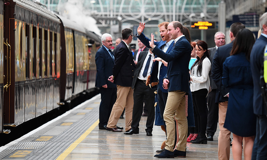 Princes William and Harry waved cheerio to passengers as the train departed the station. 