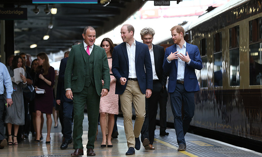 The royal trio visited the station with <em>Downton Abbey</em> star Hugh Bonneville. The actor will soon reprise his role in <em>Paddington 2</em>. 