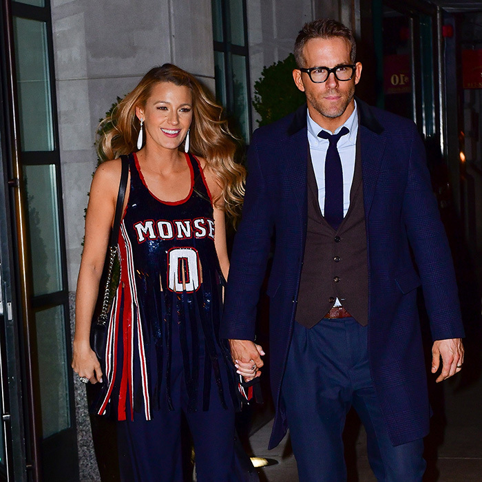 <p>Despite her busy schedule while promoting her new film <i>All I See Is You</i>, actress Blake Lively still found time for her actor beau Ryan Reynolds. The two were spotted leaving New York City's The Whitby hotel, Ryan in a navy blue suit and Blake sporting a sequinned Monse basketball jersey. This was just one of seven outfits the 30-year-old actress donned that day!