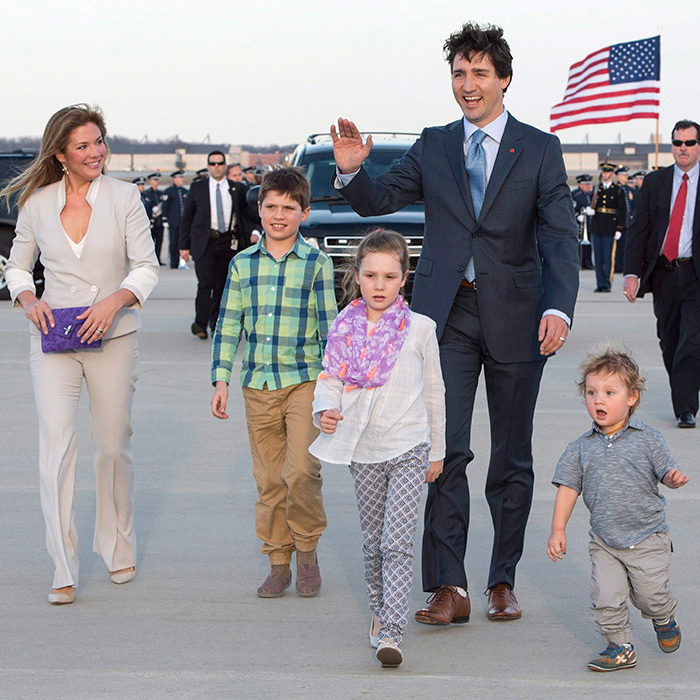 <p>The Trudeaus in Washington! The family of five were all smiles when they touched down at Andrews Air Force Base in Maryland ahead of the prime minister's visit to the White House.
