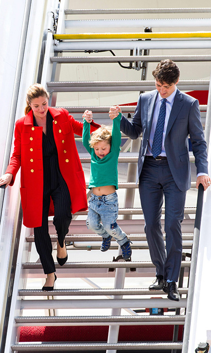 Hadrien stole the show during a trip to Hamburg in July 2017. Sophie, stunning in a bright red trench coat, and her husband held onto their rambunctious son as he swung gleefully down the stairs to the tarmac.