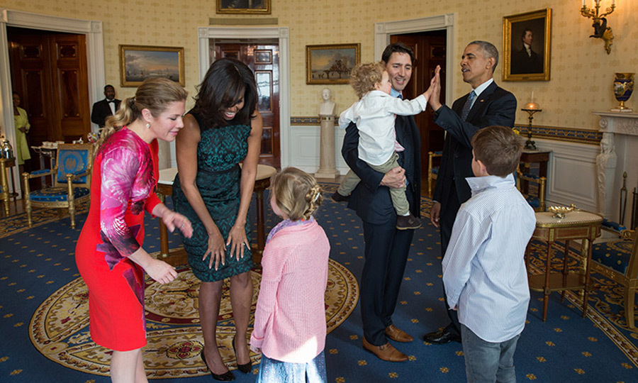 Justin was thrilled to share his first state visit to Washington with his lovely family. The Trudueas and Obamas enjoyed some friendly conversation and laughs in the Oval Office, which the PM's youngest child capped off with a big high five for Mr. Obama.