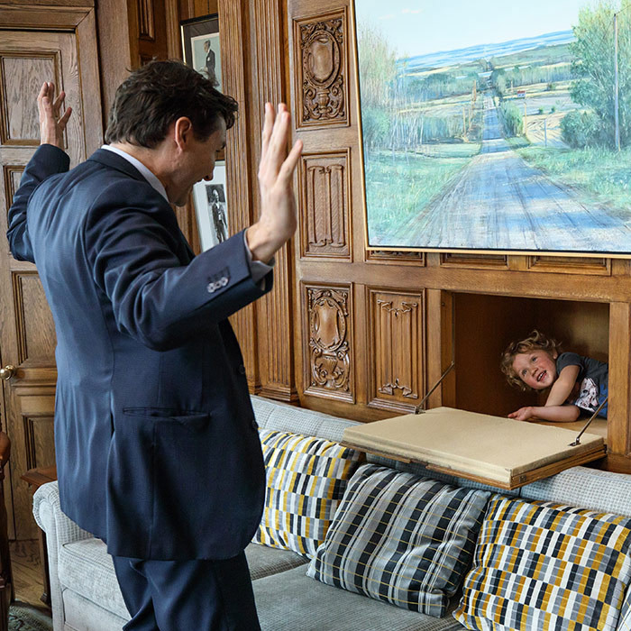 Take your kid to work day! The PM took some time out of his busy schedule to play a game of hide and seek with his youngest son, Hadrien. 
