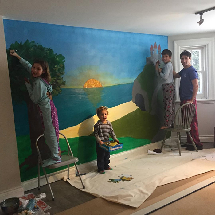 "<p>The family that paints together, stays together! Sophie shared an adorable snapshot in April 2017 of her loved ones making the most of a rainy day. She captioned the photo, ""What did we do after staring at the beige basement walls on a rainy day? A mural!!!! Nothing better than art and colours to wake up our spirits"".