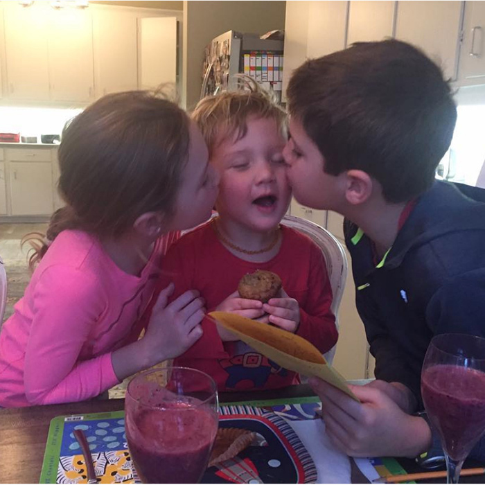 "<p>Birthday boy Hadrien was surrounded by sibling love in a photo Sophie shared with her Instagram followers back in February 2017. Ella-Grace and Xavier planted a smooch on each of his cheeks! Proud mom Sophie wrote, ""Hadrien, my little teddy bear… you are surrounded by love! Happy 3rd birthday!""
