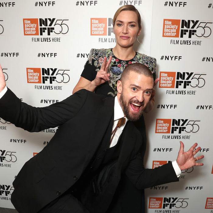 <p>Justin Timberlake and Kate Winslet had some fun on the red carpet during the premiere of Wonder Wheel during the New York Film Festival on October 14. Justin looked dapper in a black suit by Tom Ford while Kate dazzled in Alexander McQueen.
