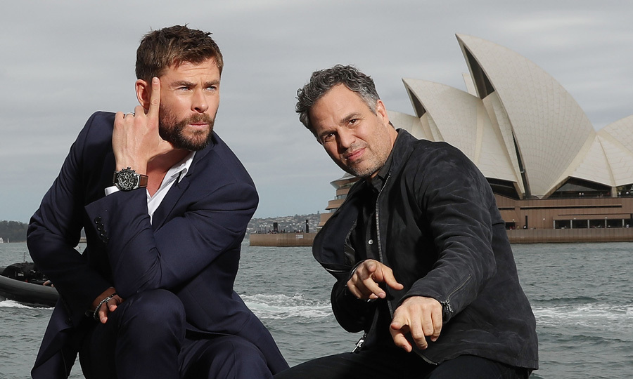 <p>Strike a pose! Marvel co-stars Chris Hemsworth and Mark Ruffalo had some fun Down Under, hamming it up for cameras during a photo call for their upcoming film <i>Thor: Ragnarok</i> in Sydney, Australia on Oct. 15.