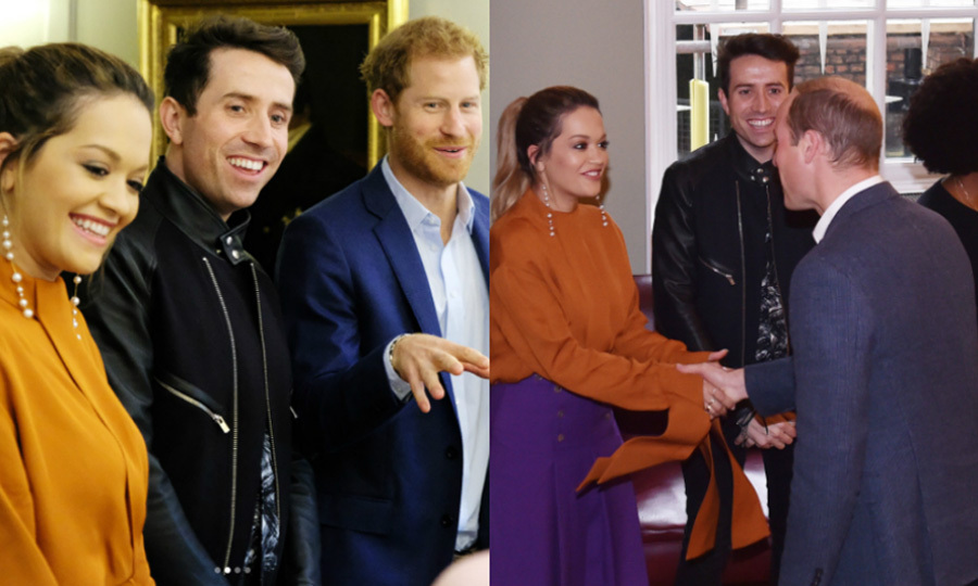 Rita Ora spent her afternoon on Oct 20 with both Prince Harry and Prince William at Kensington Palace. She helped the royals celebrate the recipients of BBC Radio's Teen Hero Award. 