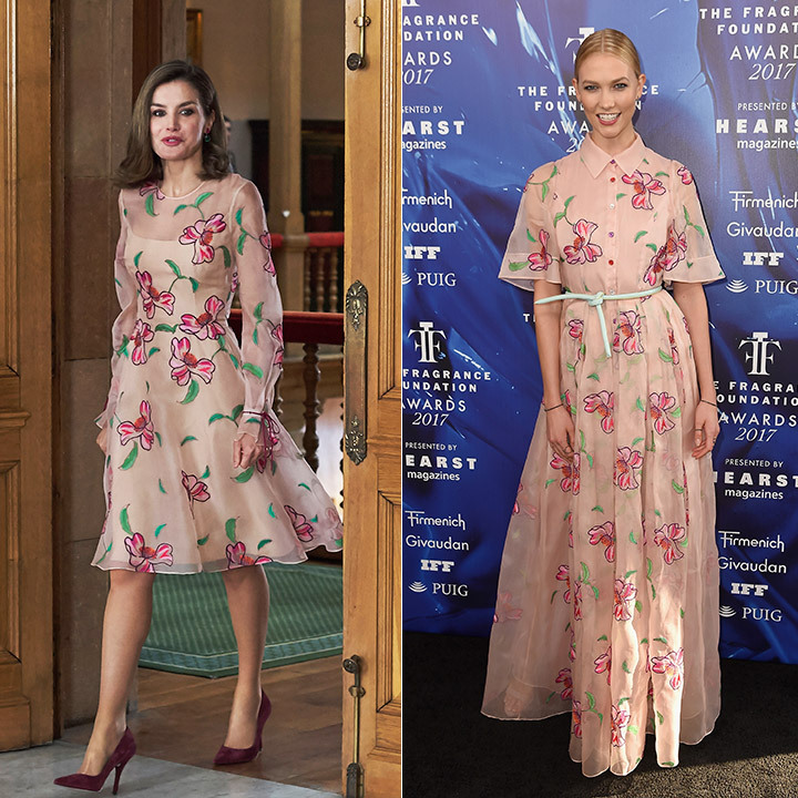 Both Queen Letizia and Karlie Kloss bloomed in florals by Carolina Herrera. The Spanish queen stepped out on Oct 20 in a long-sleeved, knee-length version of the same dress the model wore to the 2017 Fragrance Foundation Awards in New York. 