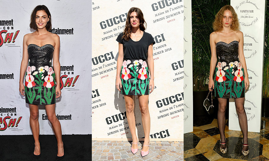 In September 2017, Monaco royal Charlotte Casiraghi, centre, dressed down a floral leather Gucci skirt with a black t-shirt and pink shoes at the brand's Milan Fashion Week Spring/Summer 2018 show. Sticking to the rock chick runway look – with a black embellished sweetheart bustier – were The Originals actress Phoebe Tonkin at Entertainment Weekly's annual Comic-Con party in San Diego in July, left, and Canadian artist Petra Collins, right, as she stepped out for the Vanity Fair and Saks Fifth Avenue 2017 International Best-Dressed List party on October 19 in NYC. 