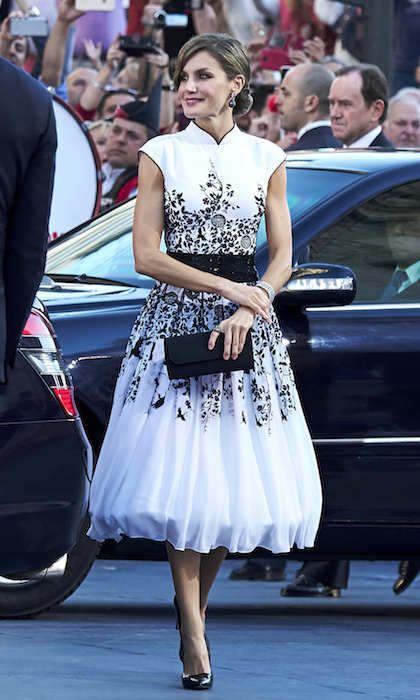 Queen Letizia slipped into a glamorous Felipe Varela dress to attend the Princess of Asturias Awards ceremony in Oviedo, Spain. The 45-year-old completed her look with black pumps and a matching handbag.