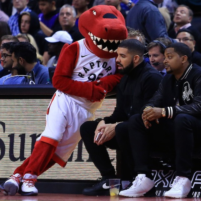 The Raptor took a break from entertaining the crowds at the ACC to catch up with Drake, who celebrates his 31st birthday on Tuesday. 