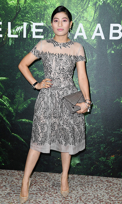 <p>The Thailand princess was also seen in the front row of Elie Saab at the designer's Spring/Summer 2018 show in Paris on September 30, 2017. For that occasion, the royal wore a ladylike grey print dress with illusion yoke. Also supremely stylish is her grey reptile clutch.<br/><br/>Photo: Pascal Le Segretain/Getty Images</p>