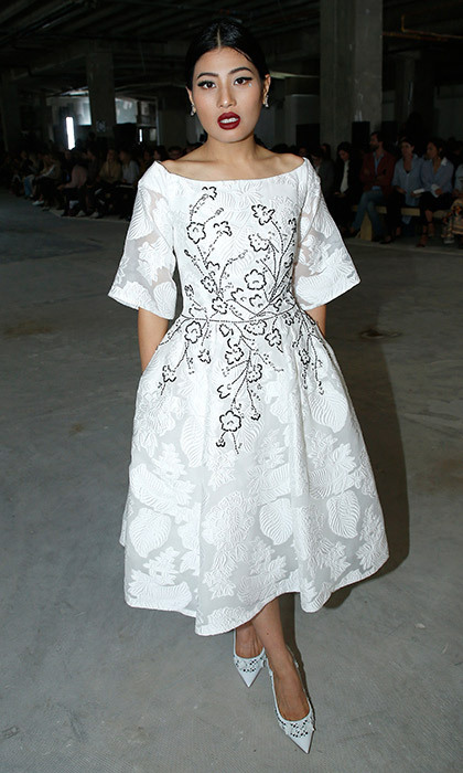 <p>Brides-to-be could definitely take inspiration from Thai Princess Sirivannavari Nariratana's white midi-dress with embroidery and elbow-length sleeves. The Thai royal wore the 1950s-inspired creation, along with sweet matching heels, to the Giambattista Valli show during Paris Fashion Week's Womenswear Spring/Summer 2018 collections in October 2017.<br /><br />Photo: Bertrand Rindoff Petroff/Getty Images</p>
