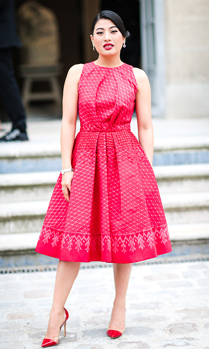 <p>There's nothing like a red dress to turn heads! In September 2016, the princess was spotted wearing this sweet 1950s style look outside of the Christian Dior show at the Rodin museum during the Spring/Summer 2017 collections. We love the royal's transparent peep toe heels and matching lipstick. <br /><br />Photo: Edward Berthelot/Getty Images</p>