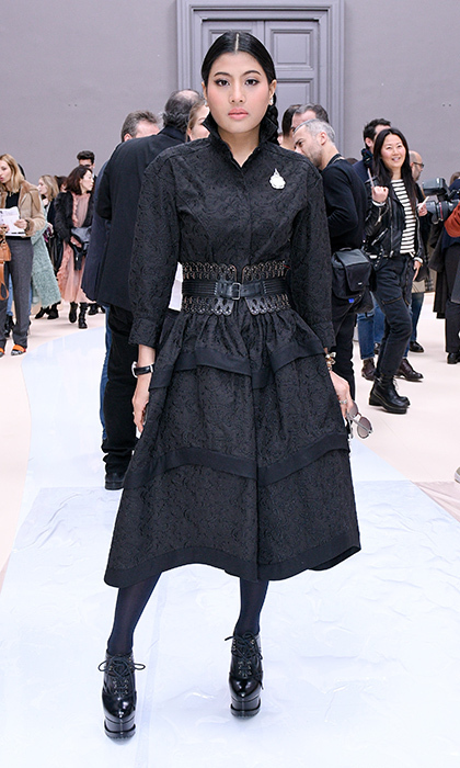 <p>Could this be the Thai royal's fiercest outfit yet? The princess looked cool and confident in head to toe black for the Fall/Winter 2017/2018 Chloé presentation at Paris Fashion Week. Especially eye-catching are those patent leather platform brogues and extra-wide belt cinched at her waist. <br /><br />Photo: Peter White/Getty Images</p>