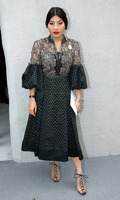 <p>Princess Sirivannavari loves gorgeous embroidery and adores a statement sleeve! Here she wore both in this bell-sleeved creation as she stepped out for the Christian Dior Spring/Summer 2018 show at Paris Fashion Week. <br /><br />Photo: Bertrand Rindoff Petroff/Getty Images</p>