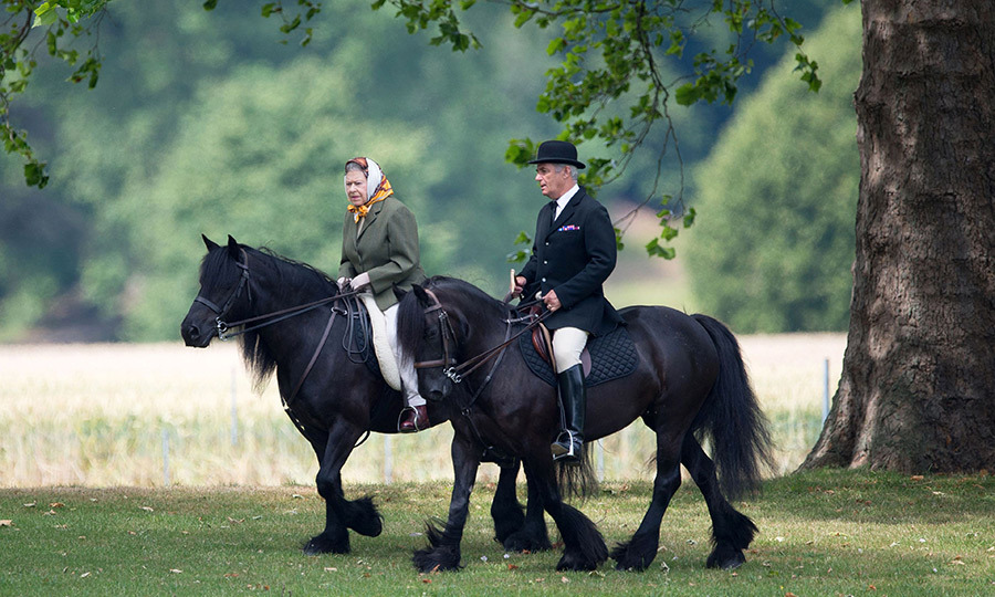 <p>The Queen and a groomsman pictured riding in the royal's private grounds.</p>