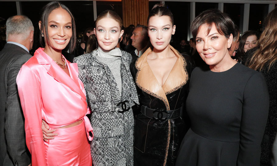 Kris Jenner was back to her natural locks at the V Magazine dinner celebrating Karl Lagerfeld with Perrier-Jouët Champagne and The Sexton Irish Whiskey. The Kardashian momager hung out with daughter Kendall's friends Joan Smalls, Gigi and Bella Hadid inside NYC's Boom Boom Room.