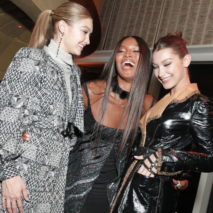 Naomi Campbell had some fun with Hadid sisters Gigi and Bella at the V Magazine fête, where guests sipped Perrier-Jouët.