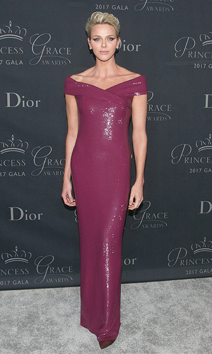 Princess Charlene of Monaco stunned in an off-the-shoulder glittery Ralph Lauren column gown at the 2017 Princess Grace Awards Gala on Oct 25. 