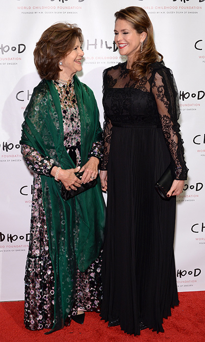 <p>It was an elegant mother and daughter night out in New York City for Queen Silvia of Sweden and her daughter Princess Madeleine on October 2. The two royals – the Queen in dark florals and the Princess in a Self Portrait black lace gown – were hosting the World Childhood Foundation USA 2017 Thank You Gala at Cipriani Broadway.<br /><br />Photo: Andrew Toth/Getty Images for World Childhood Foundation USA</p>