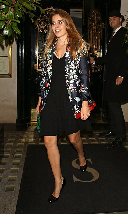 <p>Princess Beatrice of York stepped out in style in a little black dress and kimono-style jacket. The 29-year-old British royal, whose mom is Sarah, Duchess of York, was photographed leaving Scotts restaurant in London's trendy Mayfair on October 2.<br /><br />Photo: Mark R. Milan/GC Images</p>