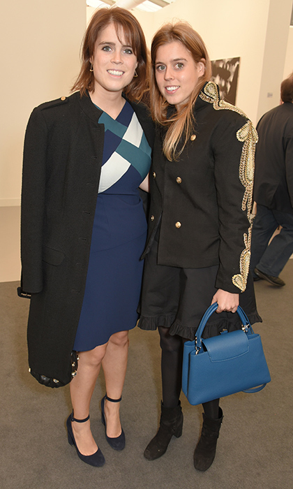 <p>Talk about some stylish sister bonding! Princess Beatrice and Princess Eugenie both wore a bit of blue as they checked out the Frieze Art Fair 2017 VIP Preview together in Regent's Park on October 4. Eugenie, 27, wore a color block dress in the tone, while sister Beatrice, in a military-style jacket, carried a cobalt handbag.<br /><br />Photo: David M. Benett/Dave Benett/Getty Images</p>