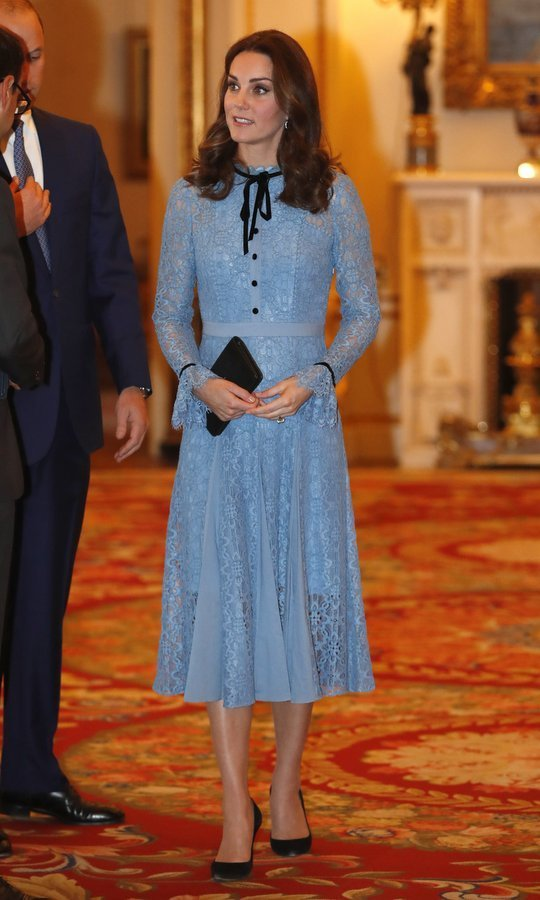 "<p>On October 10, pregnant Duchess of Cambridge reappeared looking ladylike and chic in a creation by Temperley London at a charity reception for the Heads Together mental health campaign at Buckingham Palace. Described as ""a modern take on the lace dress underpinned by the season's Elizabethan influence"", the iris-hued 'Eclipse Lace Collar Dress' retails for $1,095.<br /><br />Photo: Getty Images</p>"