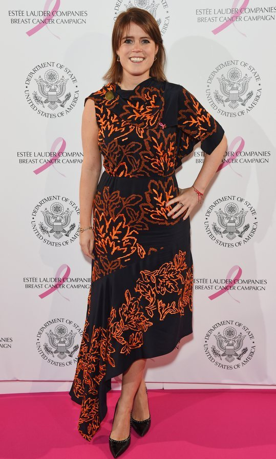 <p>Princess Eugenie of York was all about fall in a one-shouldered asymmetrical dress in autumn hues. The British royal was attending the the 25th Anniversary of the Estee Lauder Companies UK's Breast Cancer Campaign at the US Ambassador's Residence, Winfield House, in London.<br /><br />Photo: David M. Benett/Dave Benett/Getty Images for Estee Lauder Companies</p>
