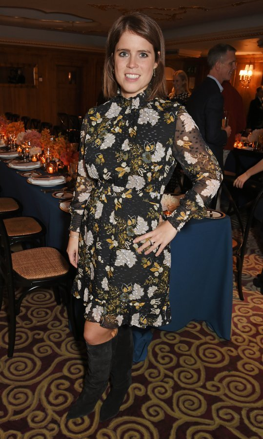 <p>Princess Eugenie of York wore the season's perfect uniform, a dark floral shirtdress and knee-high boots, to a private dinner following the Warrior Games Exhibition VIP Preview, hosted by the princess, actor-designer Waris Ahluwalia and beauty guru Sylvie Chantecaille at The Westbury, A Luxury Collection Hotel, Mayfair on October 11 in London.<br /><br />Photo: David M. Benett/Dave Benett/Getty Images for Elephant Family</p>