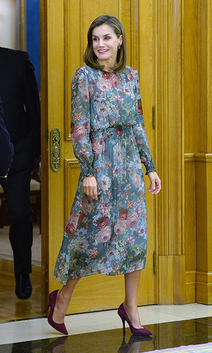 <p>Just like us, Queen Letizia of Spain loves Zara! She wore an $89.90 floral midi dress from the fashionable brand to attend an audience at Zarzuela Palace in Madrid. <br /><br />Photo: Fotonoticias/WireImage</p>