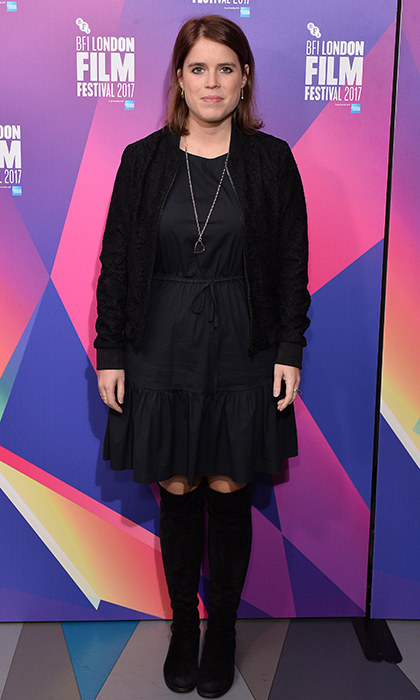 <p>Princess Eugenie also showed she's a fan of the ever-chic fall LBD, with an all-black look from her jacket to her over-the-knee boots. Sarah Ferguson's daughter was checking out the European premiere of <em>Jane</em> during the 61st BFI London Film Festival at Picturehouse Central.<br /><br />Photo: Jeff Spicer/Jeff Spicer/Getty Images for WDW Entertainment</p>