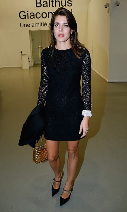 <p>Princess Grace's granddaughter Charlotte Casiraghi was a classic beauty in a lace-sleeved LBD with contrasting white cuffs as she stepped out for the 'Societe des Amis du Musee d'Art Moderne' dinner on October 17 in Paris. Also timeless – those cute pointy-toed Mary Jane heels.<br /><br />Photo: Bertrand Rindoff Petroff/Getty Images</p>