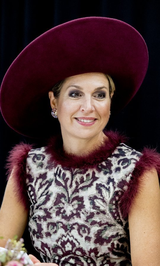 <p>Queen Maxima of the Netherlands never lets us down with her unique style! Here she is wearing a dress with wine-colored feather trim and a matching hat as she visited the city of Amersfoort on October 24.<br /><br />Photo: Patrick van Katwijk/Getty Image</p>