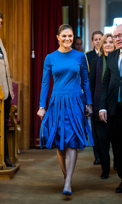 <p>Crown Princess Victoria was wearing blue – but she wasn't feeling it – while attending a seminar at Riksdag in connection with the centenary of Finnish Independence on October 18 in Stockholm.<br /><br />Photo: MICHAEL CAMPANELLA/Getty Images</p>