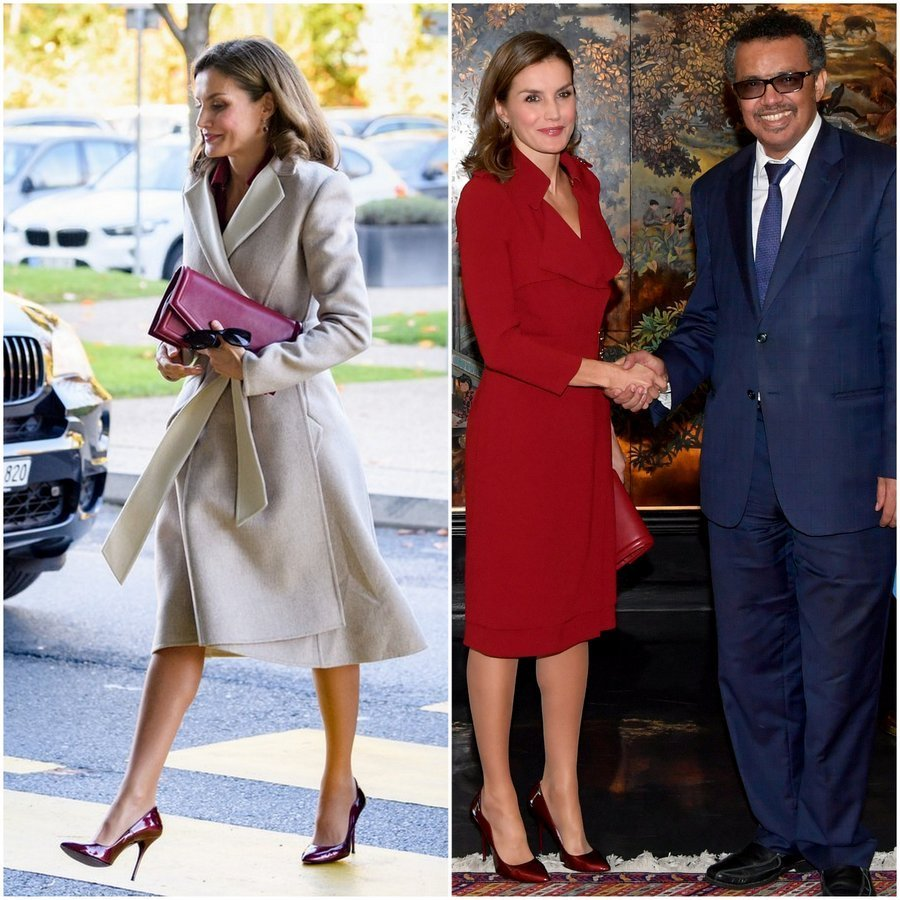 <p>Queen Letizia of Spain served up major workwear inspo as she attended a meeting at the World Heath Organization's headquarters in Geneva on October 24. The royal wore a chic wrap coat with burgundy Reliquiae clutch and Lodi patent leather heels as she arrived. Once inside she shed her coat to reveal a Burberry trench dress that she'd worn during her UK visit earlier this year.<br /><br />Photo: Harold Cunningham/Getty Images</p>