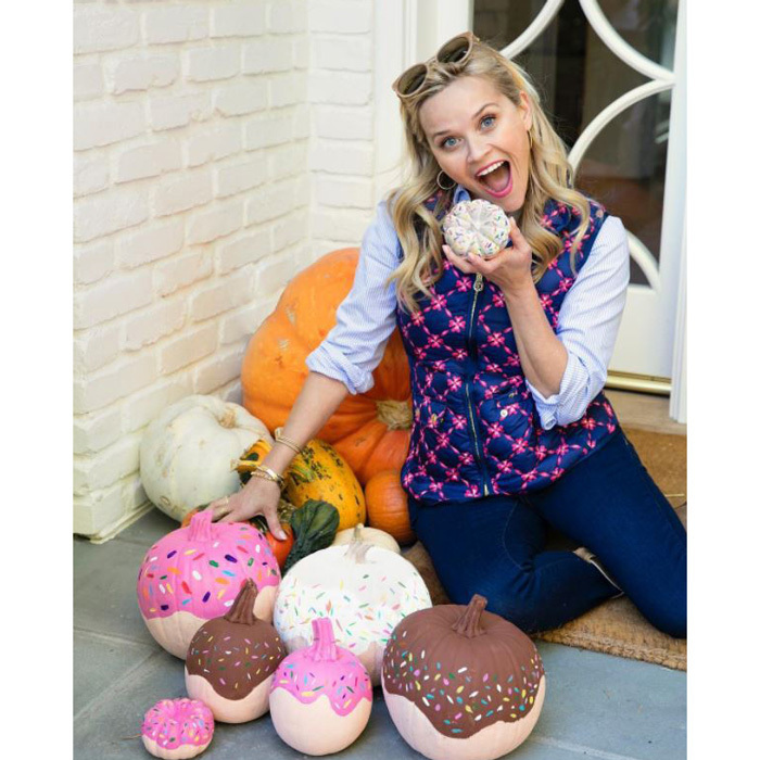 "<p>Reese Witherspoon showed that pumpkins look just as good as donuts. She shared the festive photo on Instagram with the caption: ""Donut believe the hype... not all pumpkins have to be carved.  #HalloweenFun""<br /><br />Photo: Instagram/@reesewitherspoon</p>"