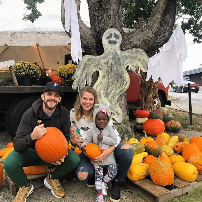 <p>Thomas Rhett and Lauren Akins made their trip to pick out pumpkins a family affair with daughters Willa Gray and newborn Ada James. The happy dad smiled ear to ear with his older daughter following suit.<br /><br />Photo: Instagram/@laur_akins</p>