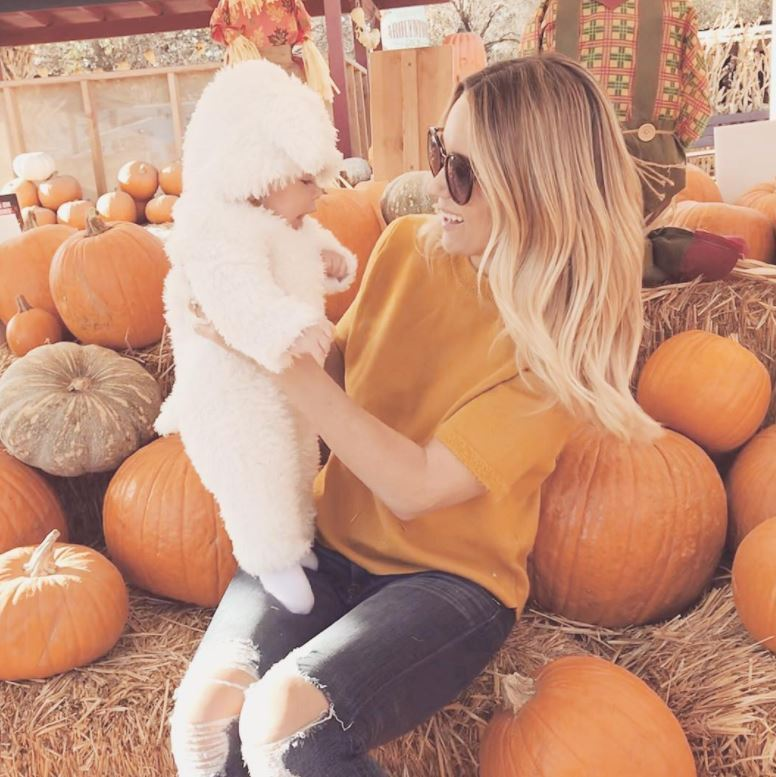 "<p>Leave it to Lauren Conrad to coordinate with the pumpkins. The new mom brought her and William Tell's son Liam for his first visit ahead of Halloween. She wrote on Instagram: This little lamb had his first trip to the pumpkin patch today ""<br /><br />Photo: Instagram/@laurenconrad</p>"