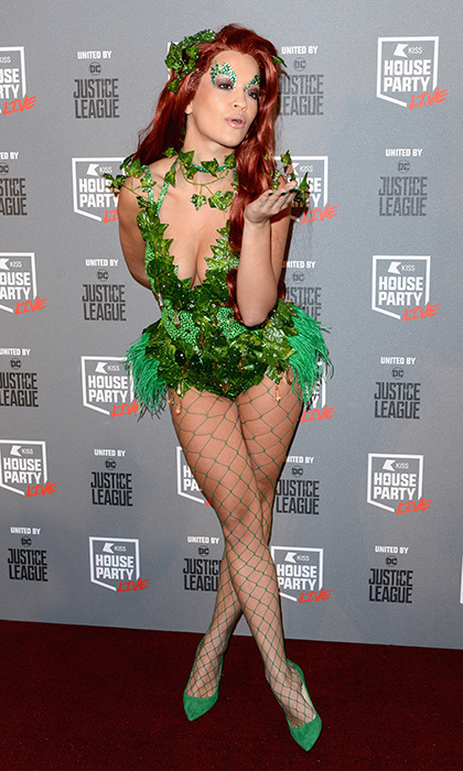 <p>Rita Ora stunned the crowd in the perfect Poison Ivy costume, complete with green fishnets and suede heels at the Kiss Haunted House Party on Oct 26. The singer performed later that night, as well.</p>