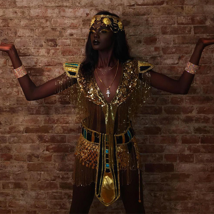 "<p>Supermodel Nyadak ""Duckie"" Thot stunned in her tribute costume to Cleopatra. She captioned her photo, ""Jewel of Africa, Cleopatra.""</p>