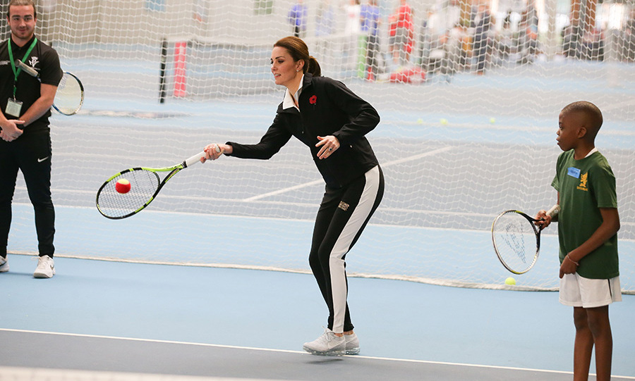 The Duchess of Cambridge hit the court on Oct. 31 to participate in a tennis workshop at the Lawn Tennis Association. The royal, who is patron of the organization, even took a turn coaching the kids! 