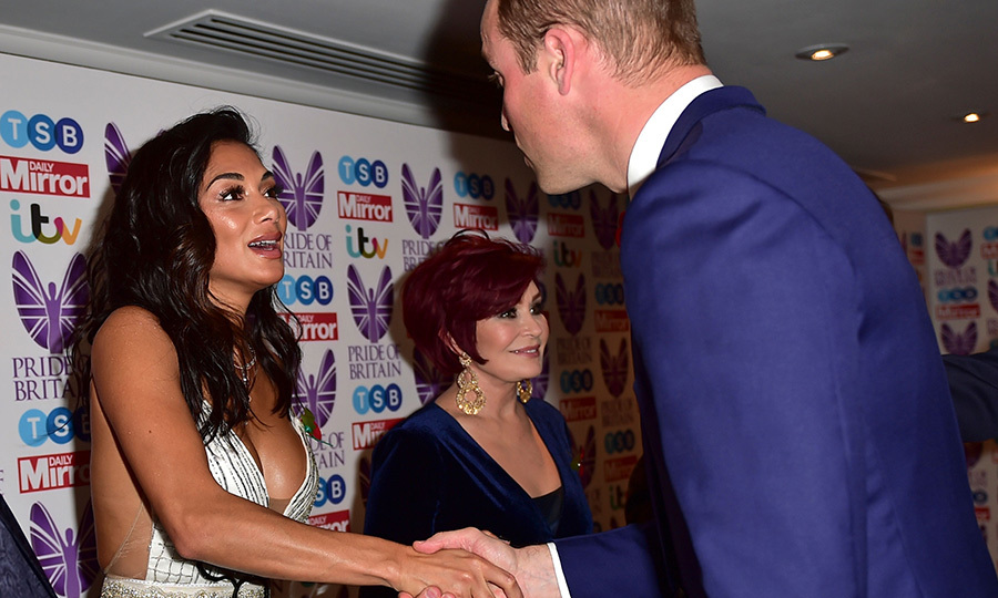 Nicole Scherzinger looked completely star struck as she met Prince William at the Pride of Britain Awards at Grosvenor House in London on October 30. Her fellow <em>X Factor</em> judge Sharon Osbourne was also on hand to greet the future king. 