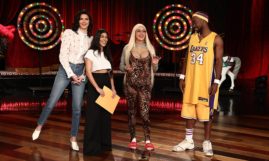 <p>Ellen Degeneres presented the world with a no-holds-barred Kardashian-themed costume, complete with hair extensions, a leopard print onesie and extremely long nails! At her side stood her fictional husband Jaleel O'Neal, played by comedian Jay Pharoah. The real Kendall Jenner and Kourtney Kardashian made a surprise appearance, even!</p>