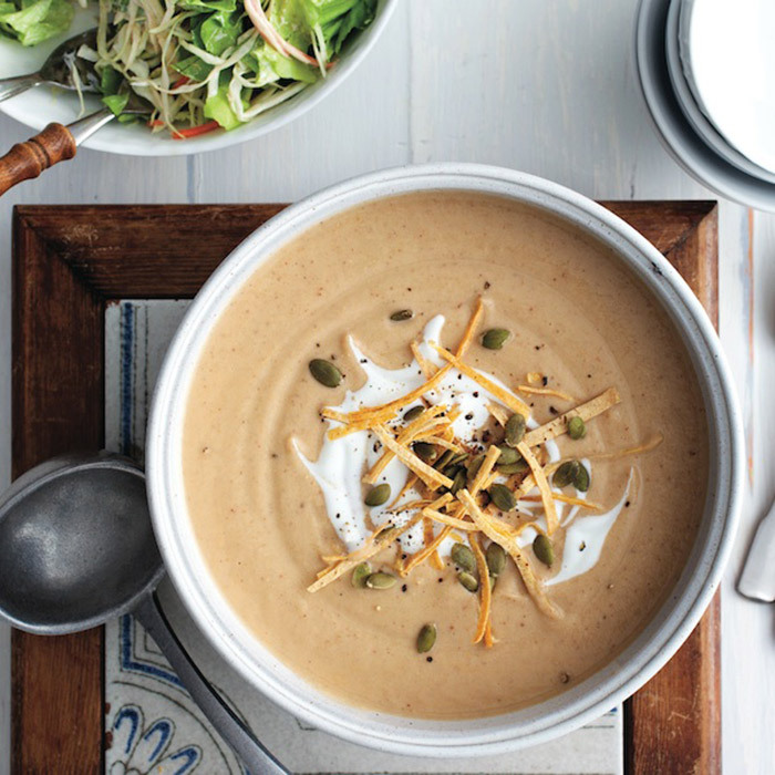 <h4>Roasted cauliflower soup</h4>