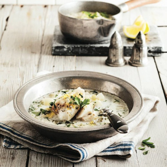 <h4>Leek and fennel soup with poached haddock</h4>