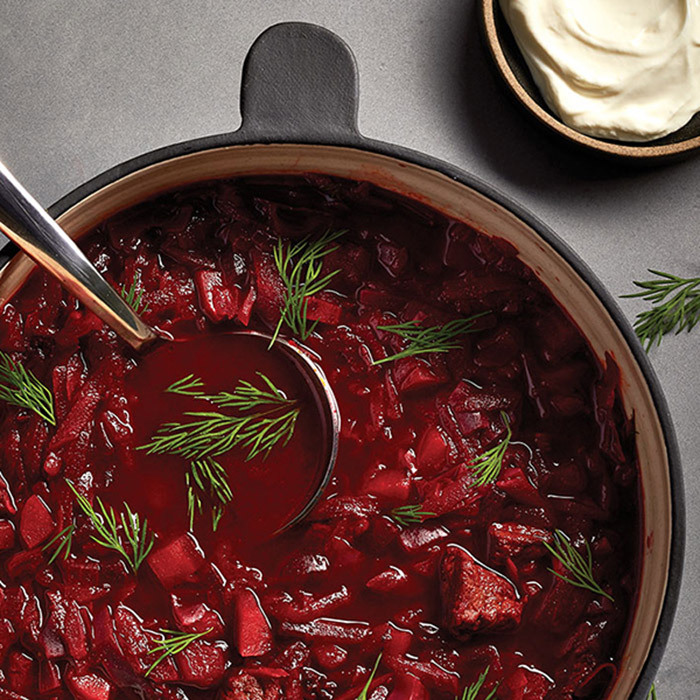 <h4>Beef and beet borscht</h4>